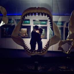 bride and groom in museum behind shark jaws