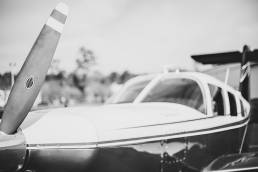 black and white detail shot of small private plane