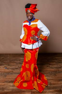 model showcasing clothes from African clothing store