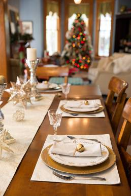 Holiday table setting in local bed and breakfast